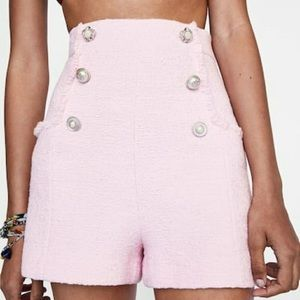 💕 ZARA PINK TWEED SHORTS SIZE S 💕